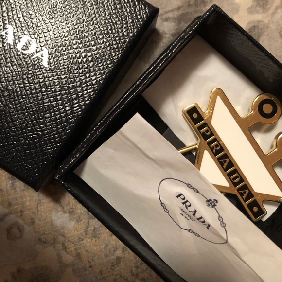 Prada Accessories - Prada White Triangle Monster Keychain